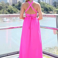 Pink Criss Cross Back Tie Sleeveless Maxi Dress