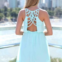 Baby Blue Multi-Strap Back Detail Dress with Gathered Waist
