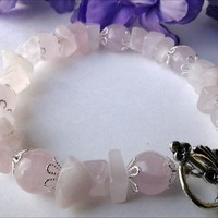 Rose Quartz Pink Gemstone Fancy Silver Bead Cap Handmade Bracelet