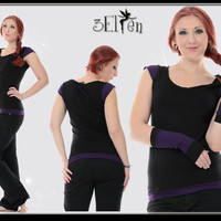 3Elfen Magic Flower Tee black violett