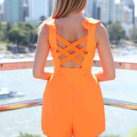 Orange Cutout Back Ruffle Neck Playsuit