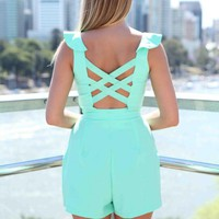Mint Cutout Back Ruffle Neck Playsuit