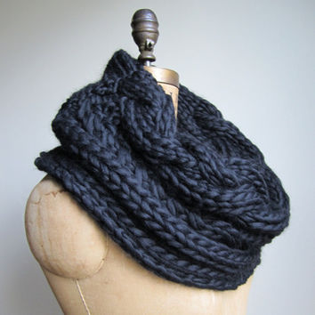 Oversized Cable knit cowl Black Infinity scarf