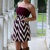 Touchdown Chevron Dress - Maroon and White | Hazel & Olive