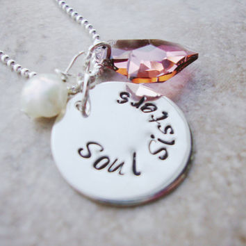 Soul Sisters sterling silver filled handstamped necklace with devoted heart swarovski crystal