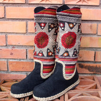 Womens Cowboy Boots In IN Rust And Tan Ethnic Laos Embroidery