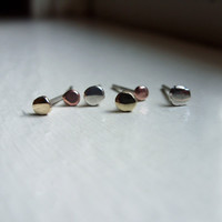 Tiny Pebble Earring Set - Rustic Studs in Solid 10k Gold, Sterling Silver, and Copper - 3 Pairs