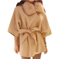 Women's Autumn/spring Faux Fur Collar Woolen Cape Outerwear Coat