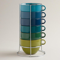 Jumbo Cool Ombre Stacking Mugs, Set of 6 | World Market