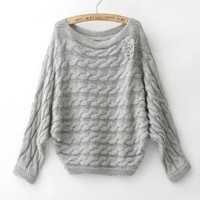 Twisted Knit Sweater for Women Gray