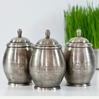 Vintage Set of Jars, Pewter Kitchen Storage Jars, Canisters, Sugar Coffee Tea Metal Containers, Cottage Chic