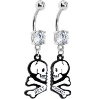 Clear Gem Two White Skulls Best Friends Dangle Belly Ring Set | Body Candy Body Jewelry