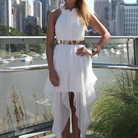 White High Neck Ruffle Sleeveless Maxi Dress