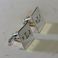 Personalized square sterling silver cuff links with monogram or custom stamping