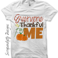 Iron on Thanksgiving Shirt PDF - Thankful for Me Iron on Transfer / Toddler Thanksgiving Outfit / New Baby One Piece / Kids Boys DIY IT323-C