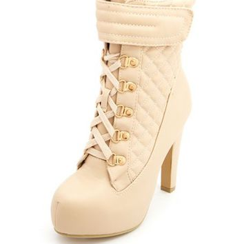 Quilted Lace-Up Hiker Heel Bootie by Charlotte Russe - Nude