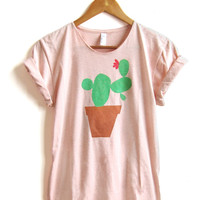 Cactus Friend - Hand STENCILED Deep Scoop Neck Pinned Rolled Cuffs Womens Tee in Heather Peach Green and Terra Cotta - S M L XL 2XL 3XL