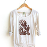 Rustic Log Ampersand HAND STENCILED Slouchy Eco Heather Deep Scoop Neck Lightweight Sweatshirt in Cream and Cocoa - S M L XL