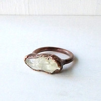 Copper Ring Prasiolite Mint Celadon Gemstone by MidwestAlchemy