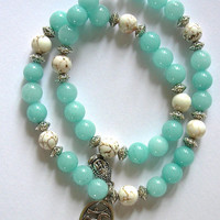 Double Wrap Amazonite Beaded Bracelet with Silver Buddha, Silver Ohm charm and white Howlite accents