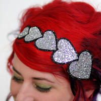 Silver Heart Headband, Silver Glitter Headband, Several Other Colours Available
