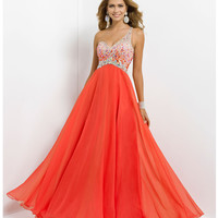 Blush 2014 Prom Dresses - Persimmon One Shoulder Jeweled Prom Gown - Unique Vintage - Prom dresses, retro dresses, retro swimsuits.