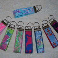 Preppy Lilly Pulitzer Fabric Key Chain Keyring in 8 Darker Prints
