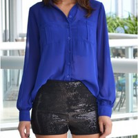 Cindy Blouse in Cobalt