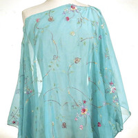 Blue Silk Caftan, Indian Silk Poncho, Silk Sari Shawl, Embroidered Poncho, Sheer Blue Top