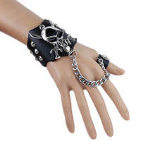 Punk leather Bracelet.Black leather bracelet and ring.Men bracelet,women bracelet with demon rivet.  leather ring  S113