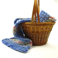Hand Knit Scarf Beautiful Blue Stripe Warm Winter Fashion Accessory