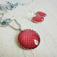 Simple basic romantic set white dots red glass necklace earrings gift