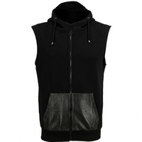 VIPARO | Black Sleeveless Partial Lambskin Leather Hooded Vest - Hugo