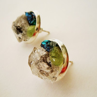 Tibetan Quartz Stud Earrings - Raw Crystal Mineral Earrings - Peacock Ore and Raw Peridot Gemstones