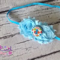 Blue Birthday Headband, 1st Birthday Headband, Polkadot Baby Headband, Shabby Headband, Blue Birthday Dress, Hair Accessory