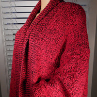 Vintage 80's Red Oversized Slouchy Cocoon Sweater Coat Sz Large