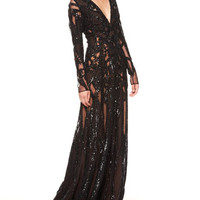 Sheer Sequin Gown, Black