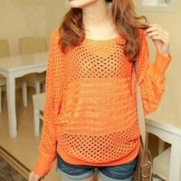 SWEET HOLLOW BAT SLEEVE SWEATER Orange