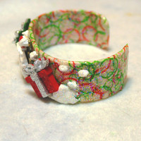 Cuff Bracelet, Decoupaged with Christmas Embellishments, OOAK, Handmade, Jewelry