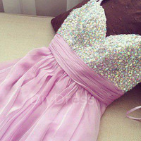 Spaghetti Strap Sweetheart-neck Handmade Beaded Bodice Mini Length Short Prom Dresses,Homecoming Dresses,Cocktail Dresses