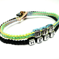 His Hers Couples Bracelet Set, Black Green Blue Pink Yellow, Made to Order