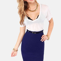 Perks of the Job Blue Pencil Skirt