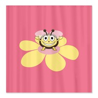 Pink Happy Cartoon Bee On Flower Shower Curtain