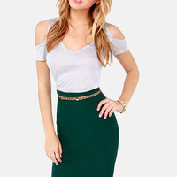 Perks of the Job Hunter Green Pencil Skirt