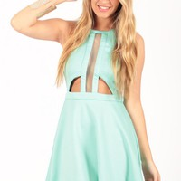 Aqua Cutout Skater Dress with Mesh Bodice Detail