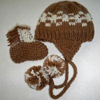 Hand Knit Brown and Cream Baby Hat with Earflaps, and Cowboy Booties