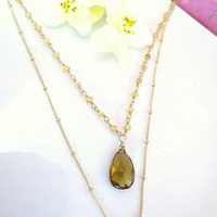 Bohemian chic whiskey quartz citrine rosary beaded double gold necklace