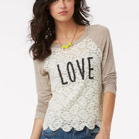 Delia's Scallop Lace Raglan Long-Sleeve -