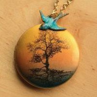 The Blue Bird and the Tree Locket by FreshyFig on Etsy