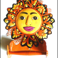 Yellow and Orange Sun Toilet Paper Holder - Painted Metal Bathroom Design